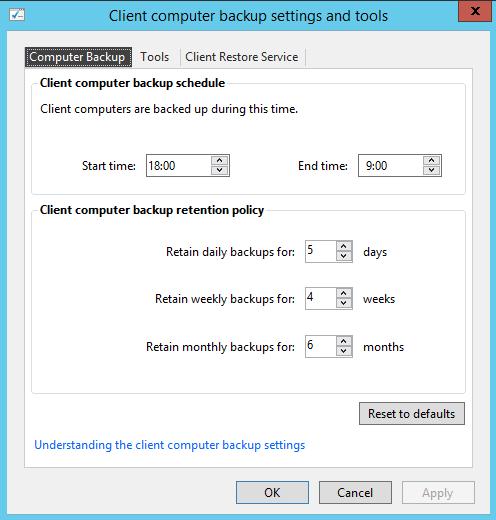 Çlient backup settings