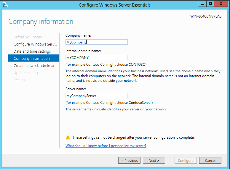 Step-by-step install Windows Server Essentials 2012 R2 with